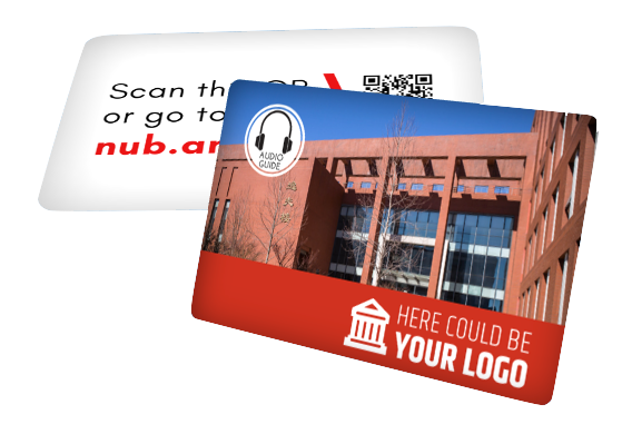 Example of a Nubart audio guide card for in person campus tours