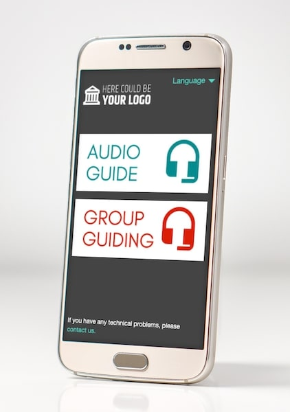 The Nubart Live group tour system can be connected to pre-recorded audio guides