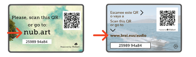 URL examples for alphanumeric codes on Nubart audio guide cards